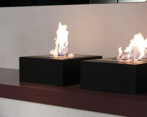 Bio ethanol 2 burners freestanding sliced